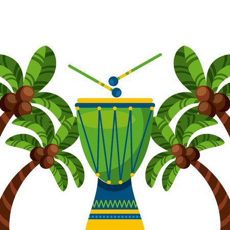 Tamburo strumento della cultura brasiliana cultura su palme e sfondo bianco. disegno colorato. illustrazione vettoriale Archivio Fotografico - 68809343