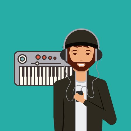 piano and cartoon man smiling wearing casual clothes and with headphones and music player over white background. colorful design. vector illustration Illustration