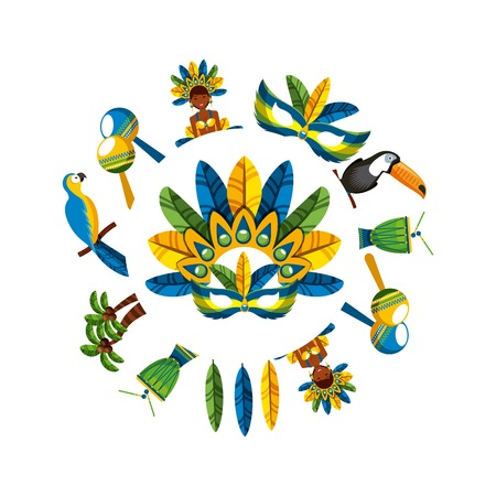 festival mask accessory and brazilian culture icons around over white background. colorful design. vector illustration