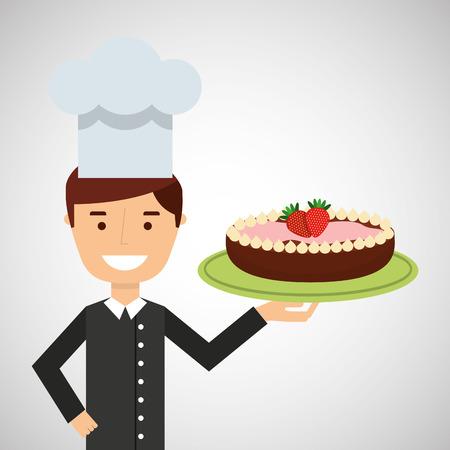 cartoon chef dessert cake chocolate with strawberry vector illustration eps 10 Illustration