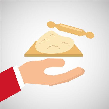 Bäckerei Kochen Hand Teig Teigrolle Vektor-Illustration eps 10 Vektorgrafik