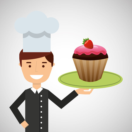 cartoon chef dessert tasty cupcake chocolate strawberry vector illustration eps 10