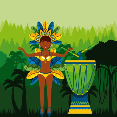 janeiro: cartoon brazilian dancer woman and drum instrument. colorful design. vector illustration Illustration