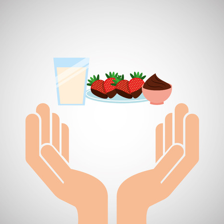hands food preparing dessert strawberry milk and chocolate vector illustration eps 10