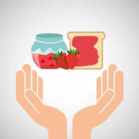 preparing: hands food preparing bread jam strawberry vector illustration eps 10