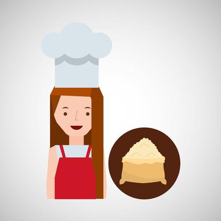 cooker girl flour sack vector illustration