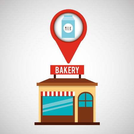 bread maker: bakery store milk box vector illustration