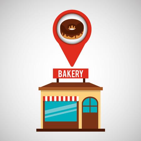 bakery store: bakery store chocolate donut vector illustration