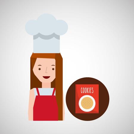 rolling bag: cooker girl cookie mix vector illustration Illustration