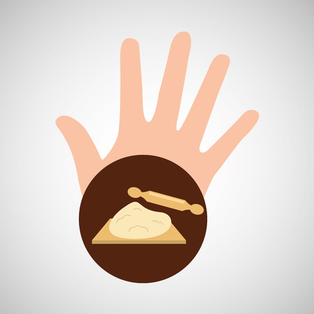 hand and dough roller bakery vector illustration Illustration