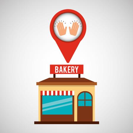 bakery store: bakery store cooker hands vector illustration Illustration