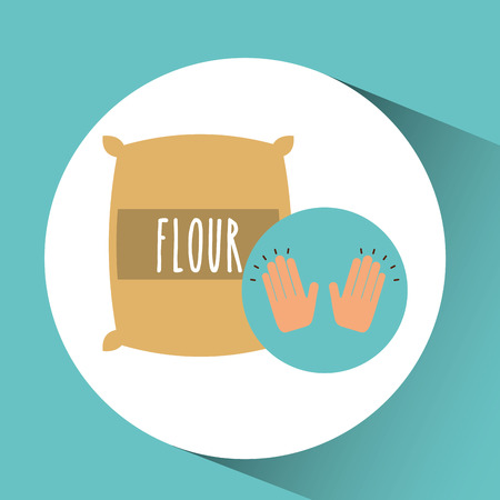 homemade bread: flour sack dessert concept vector illustration
