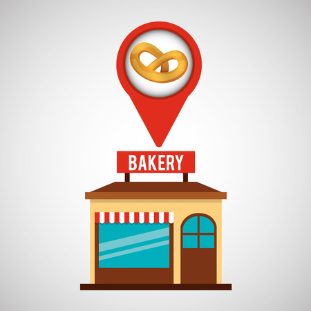 bakery store: bakery store pretzel bread vector illustration