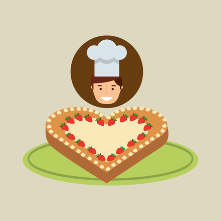 cartoon chef dessert cake ht vector illustration eps 10 Illustration