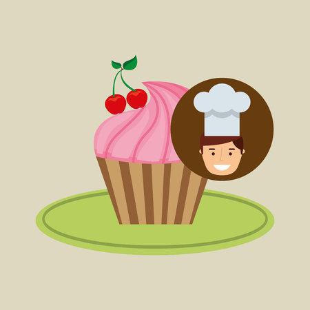 cartoon chef dessert cupcake cherry vector illustration eps 10