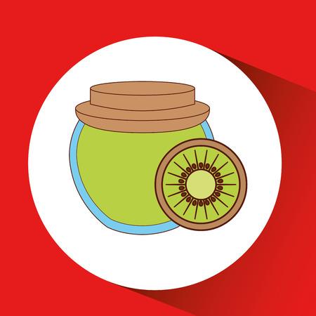 hand puts kiwi jar jam vector illustration eps 10