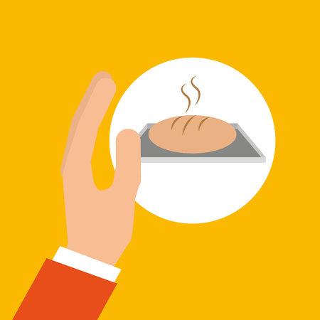 bakery cooking hand fresh bread vector illustration eps 10 Illustration