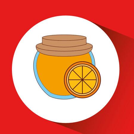 marmalade: hand puts orange jar jam vector illustration eps 10 Illustration