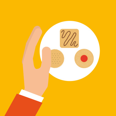ful: bakery cooking hand delicious cookies vector illustration eps 10