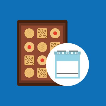 Keuken bakkerij concept koekje lade set vector illustratie eps 10 Vector Illustratie