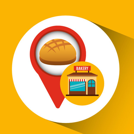 bun: bakery store fresh bread vector illustration