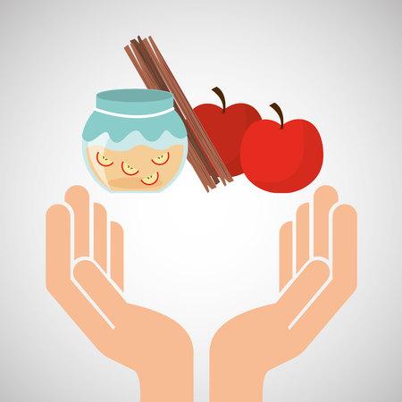 preparing: hands food preparing jam apple cinnamon vector illustration Illustration