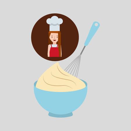 cooker girl beater mix dough vector illustration Illustration