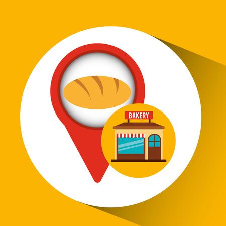 bakery store: bakery store baguette bread vector illustration