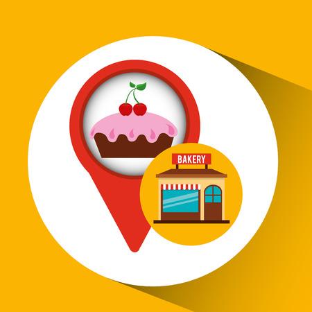 bakery store: bakery store cake cherry cream vector illustration