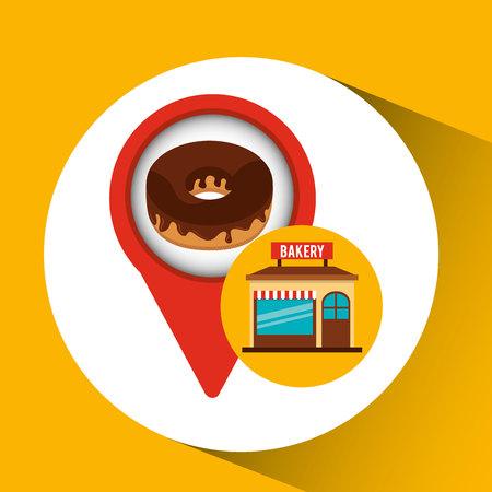 bakery store: bakery store chocolate donut vector illustration eps 10 Illustration