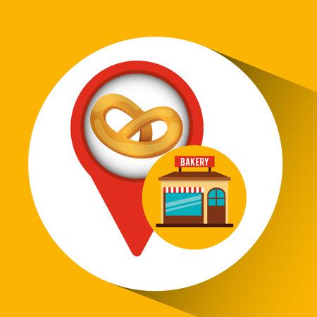 bread maker: bakery store pretzel bread vector illustration