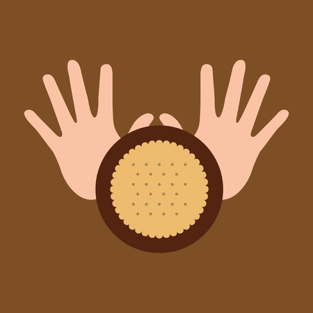hand and cookie dessert icon vector illustration