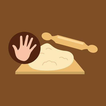 kneading: hand and dough roller bakery vector illustration Illustration