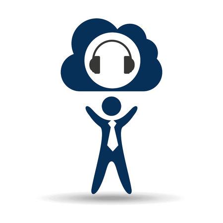 music design silhouette man and headphones vector illustration