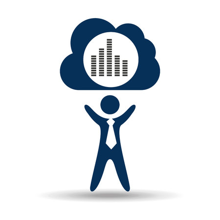 frequency: music design silhouette man and digital frequency vector illustration