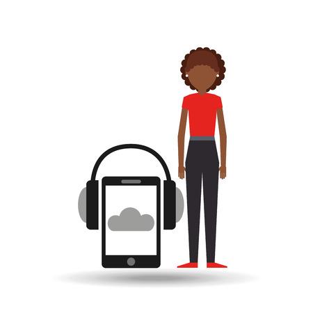 girl smartphone headphones music online vector illustration Illustration