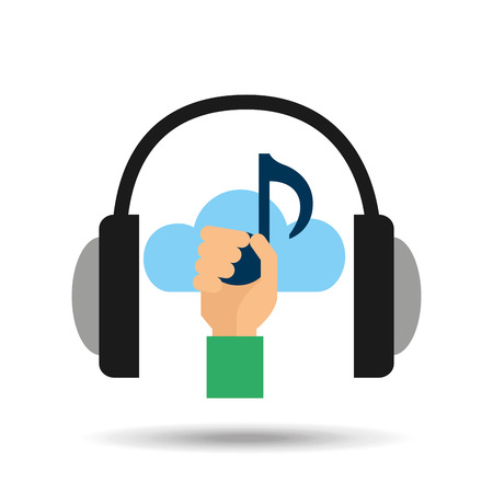 live stream listening: music online cloud headphone  note vector illustration Illustration