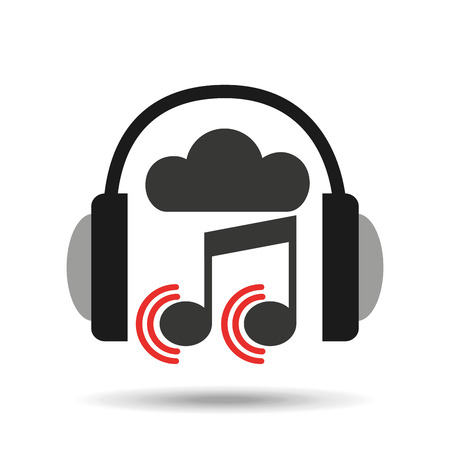 mp3 player: music online cloud headphone note sound vector illustration