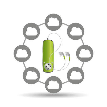 music cloud connection green mp3 graphic vector illustration
