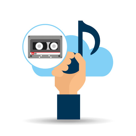 hand hold note music cloud and cassette tape vector illustration