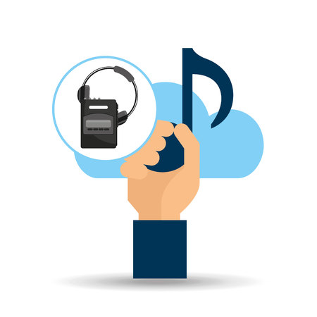 hand hold note music cloud and headset cassette player vector illustration Illustration