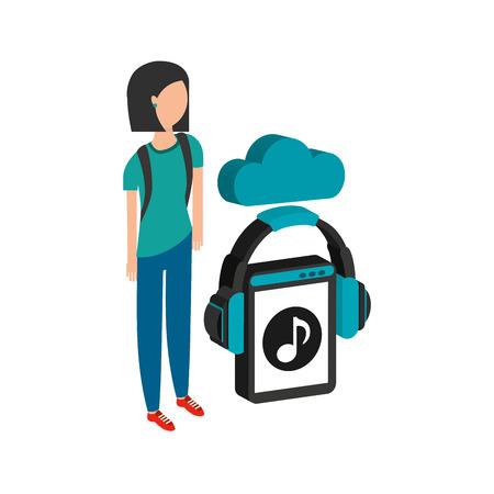 girl black hair cloud streaming music vector illustration
