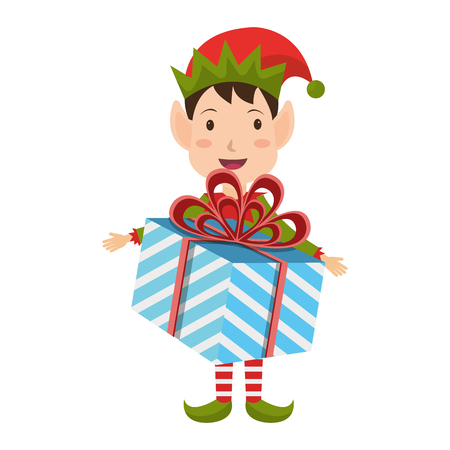 santa helper: happy merry christmas elf character vector illustration design