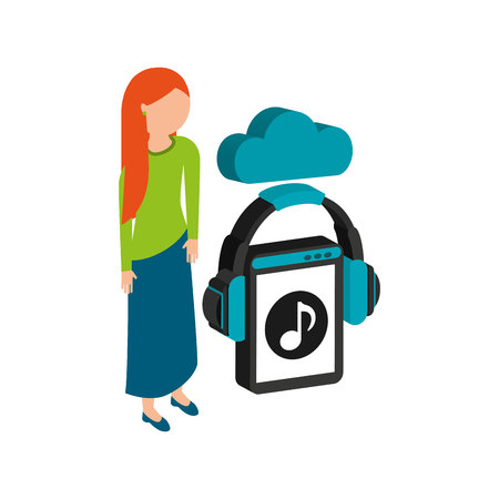 girl with long hair: girl long hair cloud streaming music vector illustration