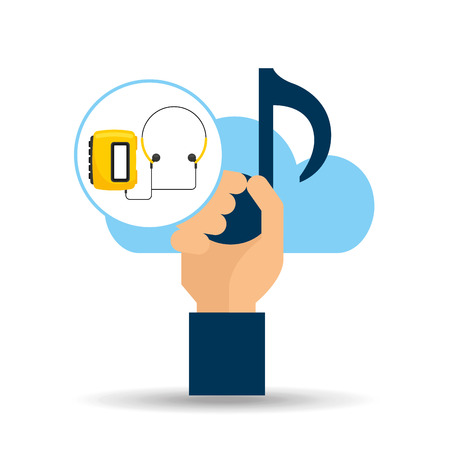 hand hold note music cloud and radio cassette player vector illustration