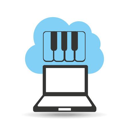 cloud technology: technology music cloud keyboard piano vector illustration