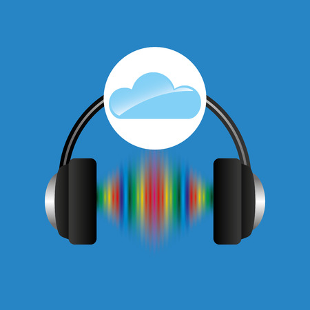 frequency: cloud music concept headphones frequency vector illustration
