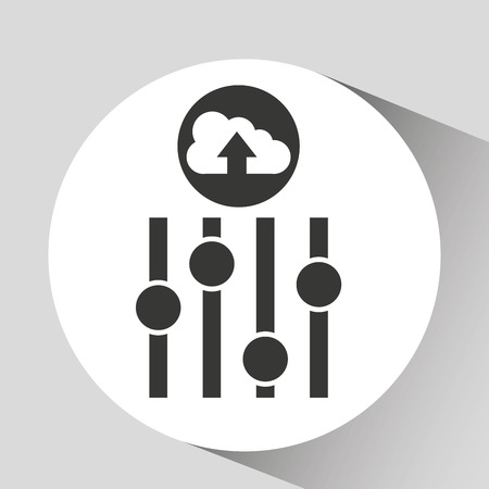 off the record: upload cloud sound equalizer vector illustration