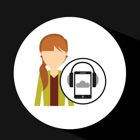 girl orange pants smartphone headphones music online vector illustration