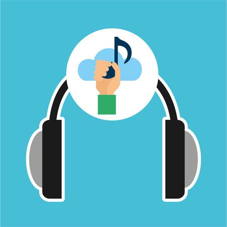 live stream listening: music online cloud headphone  note vector illustration eps 10 Illustration